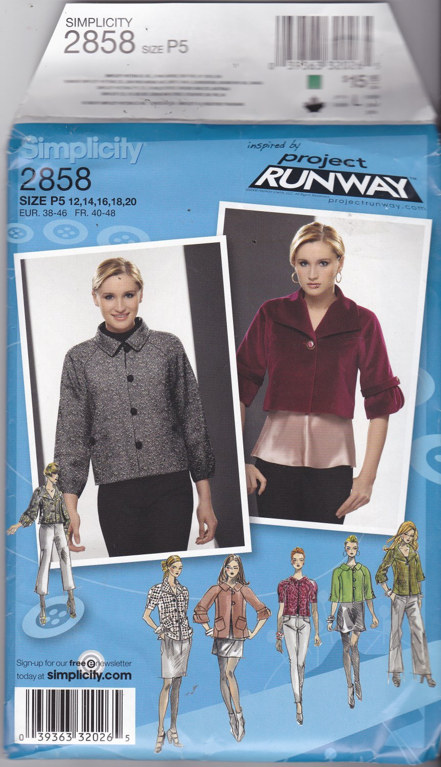 Simplicity 2858 Pattern Uncut FF size 12 14 16 18 20 plus Lined Jackets Project Runway