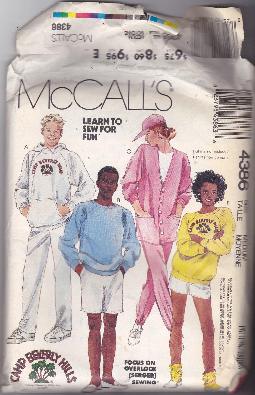 McCall's 4386 Uncut FF Men Women Medium 36 38 Camp Beverly Hills Hoodie Sweats with Transfer