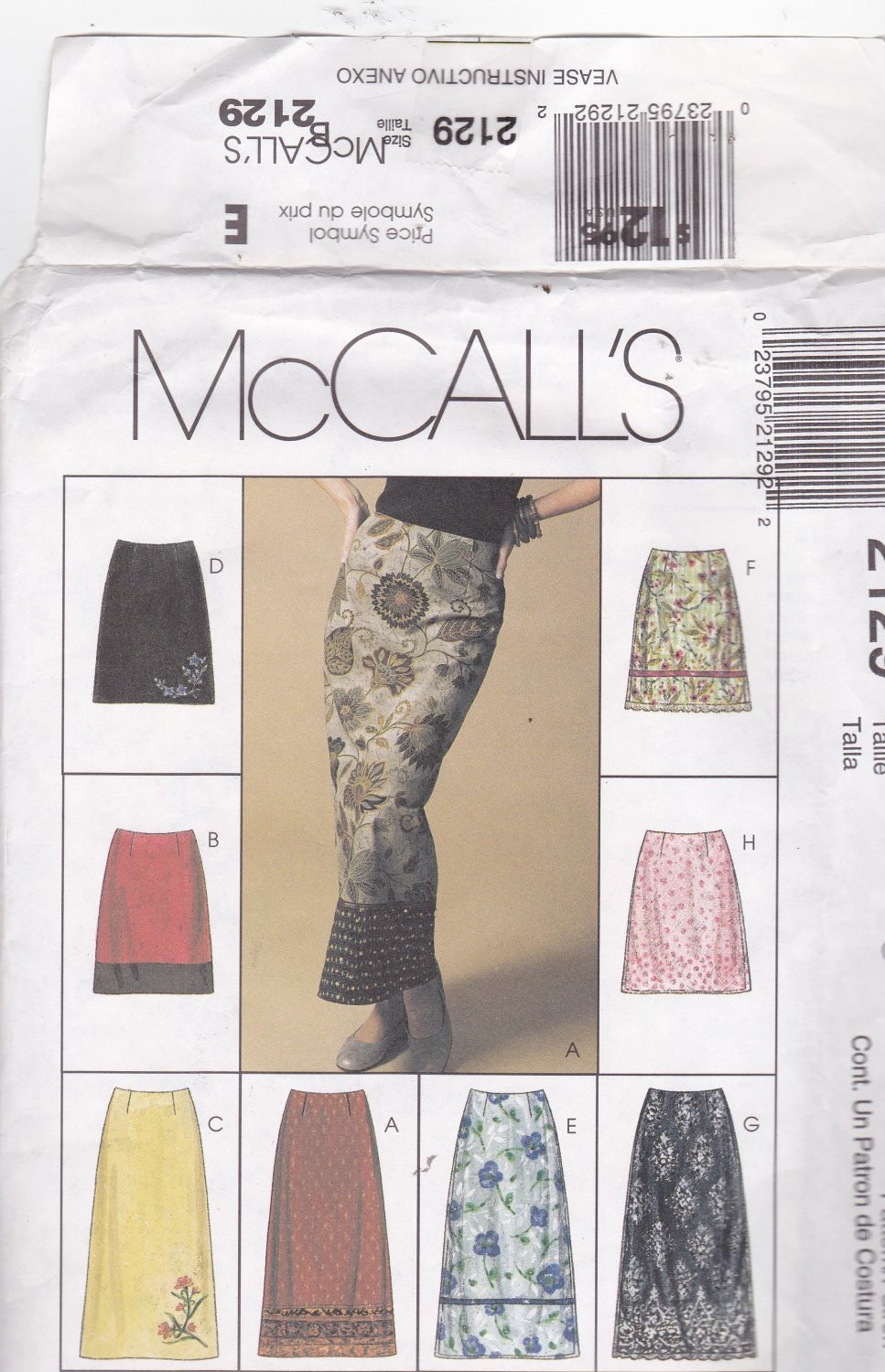 McCall's 2129 size 12, may be missing pieces, 50 cents plus shipping