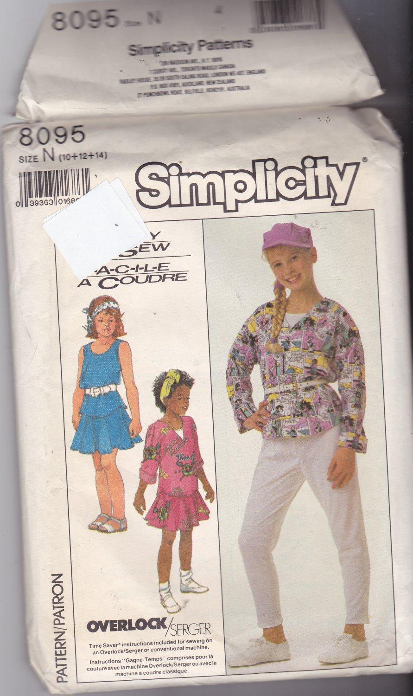 Simplicity 8095 Pattern Uncut FF Girls size 10 12 14 Separates Pants Skirt Top Tank