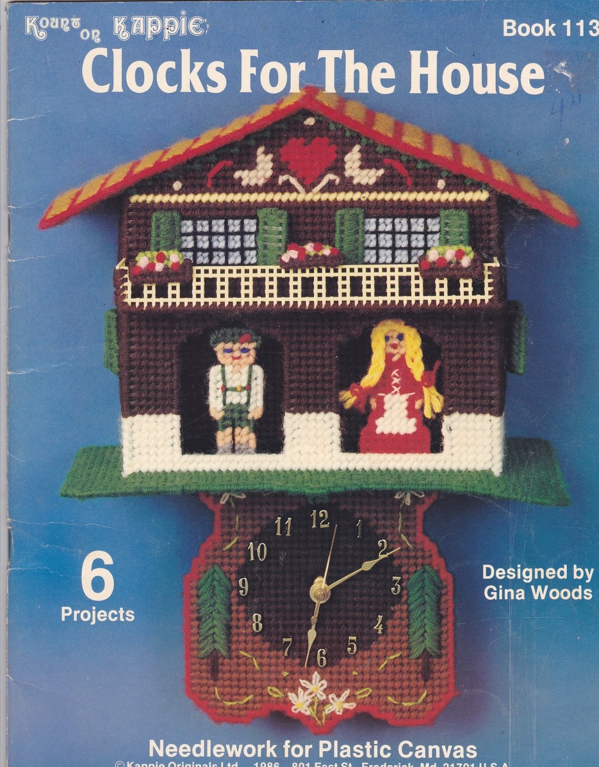 Clocks for the House Plastic Canvas pattern booklet 113 Designer Gina Woods