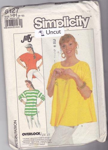 Simplicity 8127 Pattern 6 8 10 12 Uncut Jiffy Loose Fit Knit Top High Low Hem Flared Jersey Knit