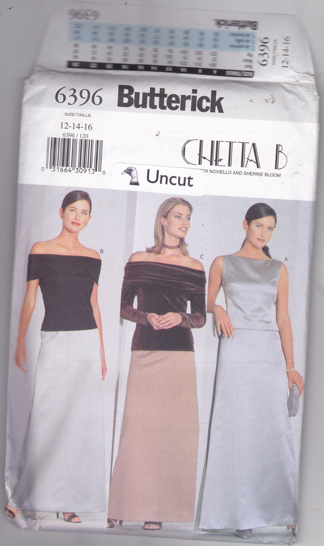 Butterick 6396 Pattern uncut 12 14 16 Off Shoulder Top Long Skirt Formal Easy Chetta B