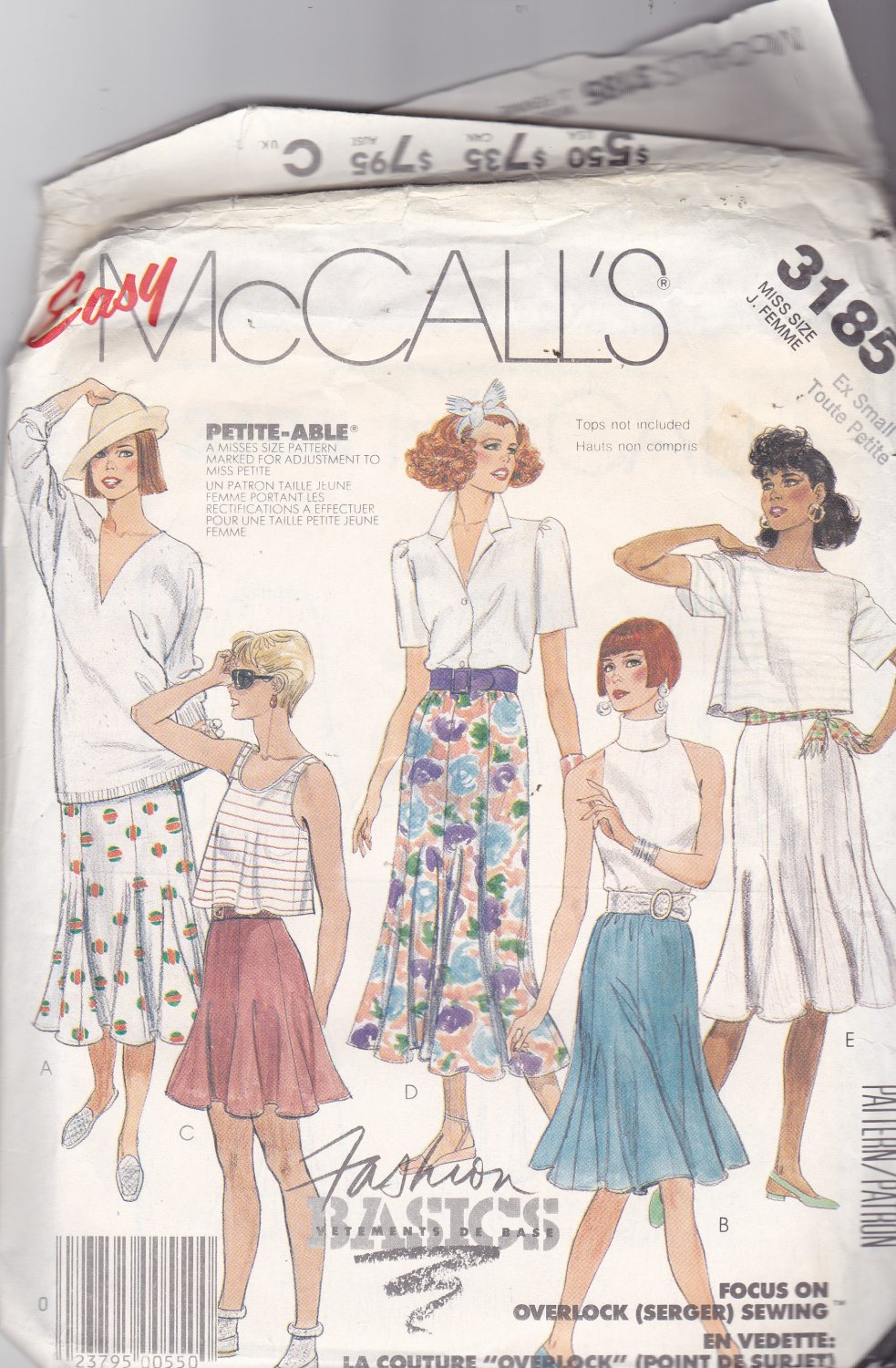 McCall's 3185 Pattern 6 8 XS Uncut Fit & Flare Gored Skirt for Knits and Wovens