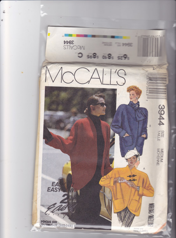 McCall's 3944 Pattern medium bust 36 38 Uncut Unlined Jacket Dolman Sleeves