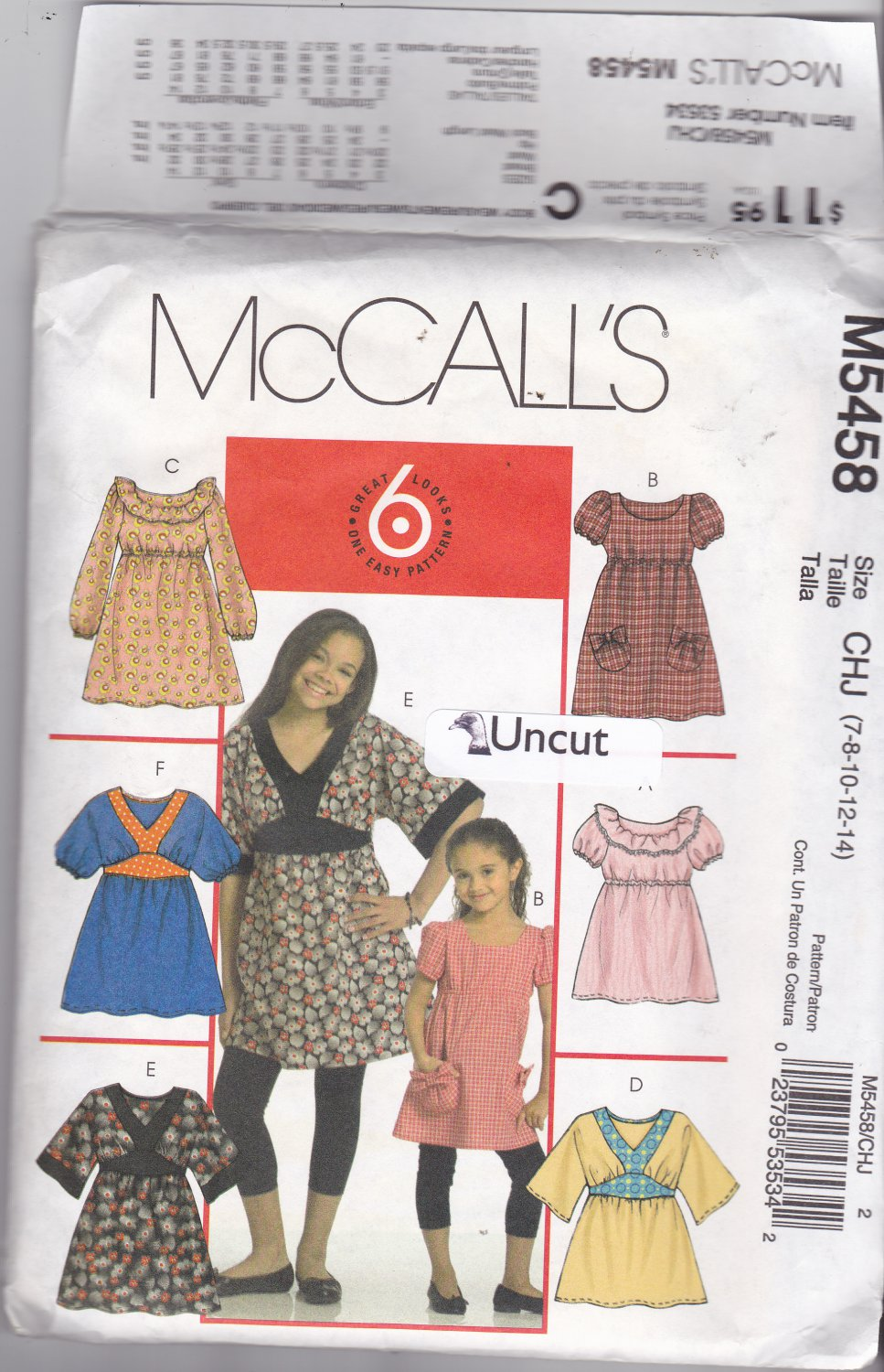 McCall's M5458 Pattern Uncut size 7 8 10 12 14 Girls Pullover Top Dress Ruffles Contrast Bands