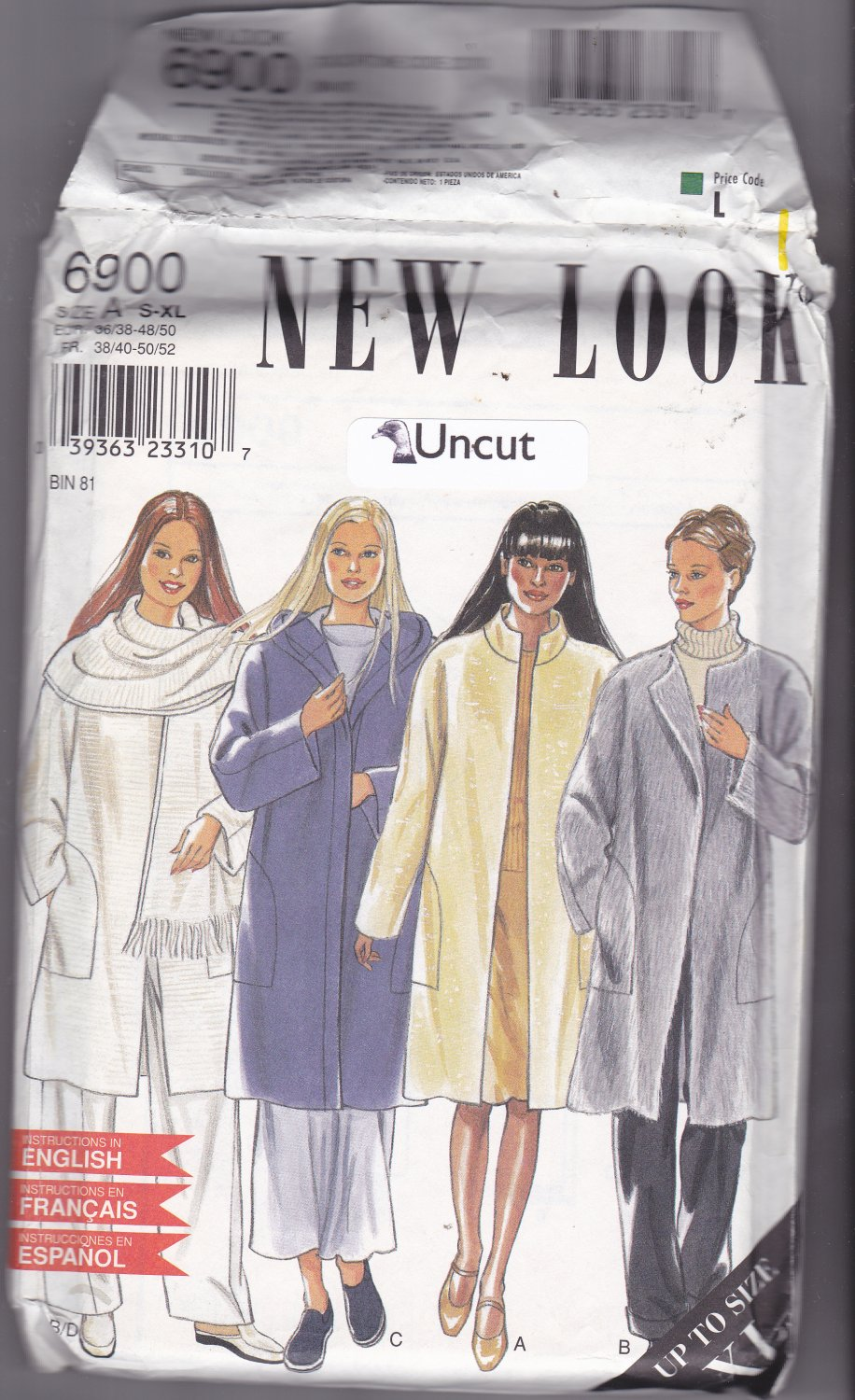 Simplicity New Look 6900 Pattern S M L XL Uncut Winter Car Coat Dolman Sleeves Scarf Hood