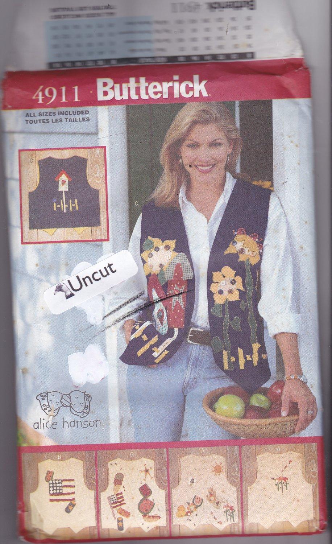 Butterick 4911 Pattern S M L (8 10 12 14 16 18) Uncut Applique Vests Alice Hanson Country