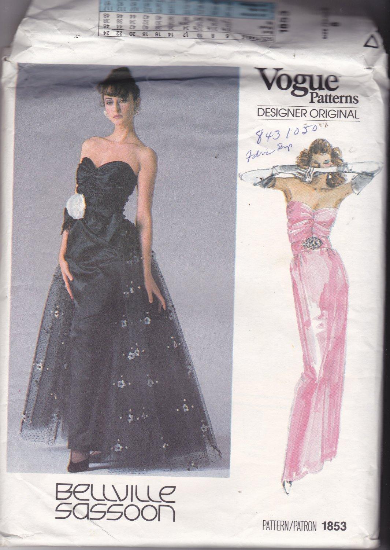 Vogue 1853 Pattern Uncut Size 8 Bust 31.5 Formal Dress Flared Overskirt Bellville Sassoon Designer