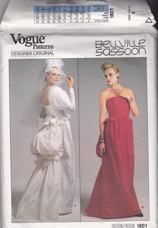 Vogue 1801 Pattern Uncut Size 8 Bust 31.5 Wedding or Formal Dress Bustle Bellville Sassoon Designer