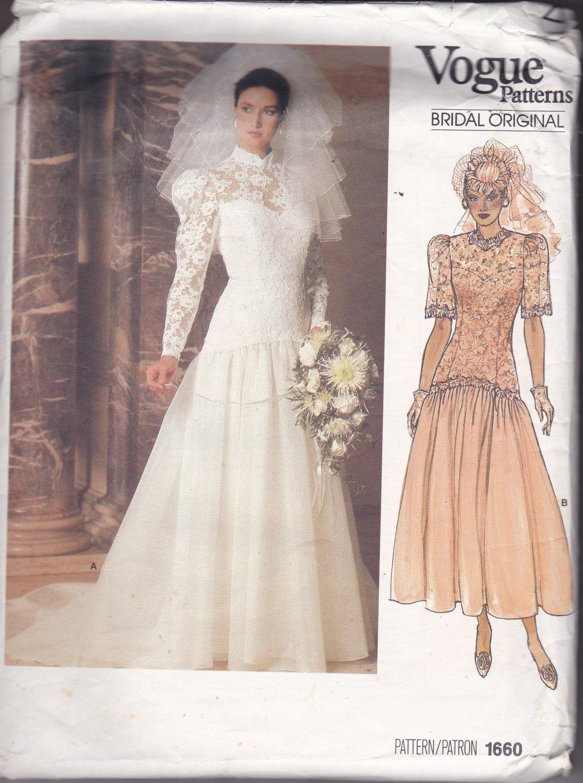 Vogue 1660 Pattern Uncut Size 8 Bust 31.5 Bridal Wedding Dress Train Lace Bodice