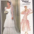 Vogue 1826 Pattern Uncut Size 8 Bust 31.5 Bridal Wedding Dress Train Shirred Bodice Lace Ruffles