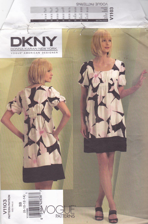 Vogue 1103 Pattern Uncut Size 8 10 12 14 DKNY A-Line Loose Fit Dress Slip Babydoll