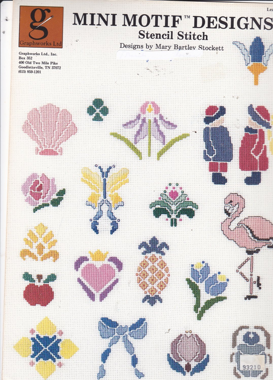 Graphworks Mini Motif Designs Stencil Stitch leaflet 31 Counted Cross Stitch