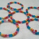 Handmade Rainbow Glass Bead Napkin Rings Set of 6