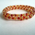 Handmade Gold Red Memory Wire Glass Beaded Bracelet