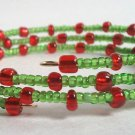 Handmade Red Green Memory Wire Glass Beaded Bracelet