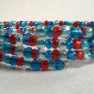 Handmade Teal Aqua Red Memory Wire Glass Beaded Bracelet