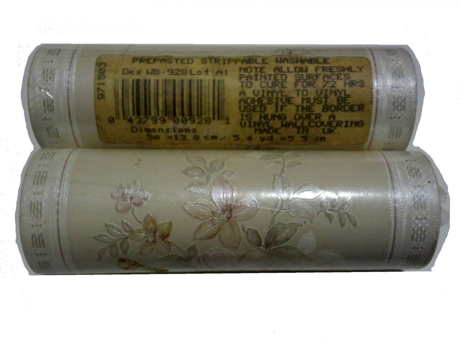 Borden Wallpaper Border WB928 Ivory Soft Textured Floral 5.5 in x 10m (10.8y)
