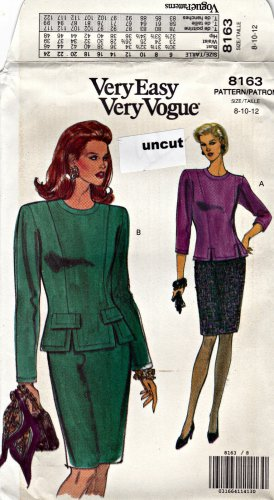 Vogue 8163 Pattern 8 10 12 Very Easy Top Blouse Skirt Princess Seams Uncut