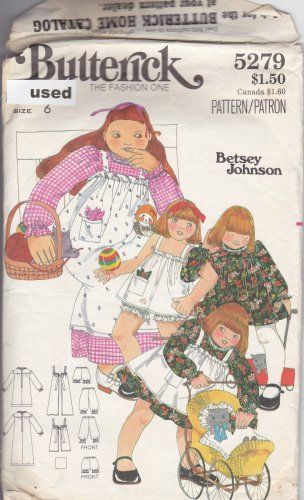 Vintage Butterick Pattern 5279 Girls' Dress Pinafore Bloomers 6 Betsey Johnson Cut Complete