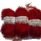 Lot of 3 Festival Mix Fiber Eyelash Yarn Bright Red 150g total