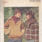 Butterick 5599 Pattern Uncut 20 Teen Boys Girls Unisex Chest 36.5 Zip Front Jacket Newsboy Cap
