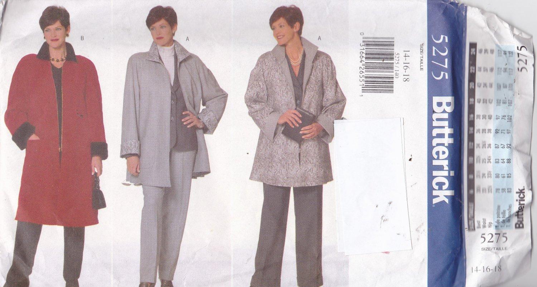 Butterick 5275 Pattern 14 16 18 Uncut Front Zip Car Coat
