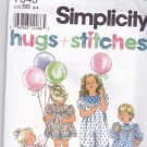 Simplicity 7643 Pattern Uncut Toddlers 2 3 4 Jumpsuit Dress Puff Sleeves Contrast collar