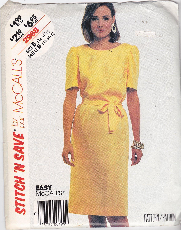 McCall's Stitch N Save 2968 Pattern 12 14 16 18 Uncut Straight Dress Round Neckline Short Sleeves