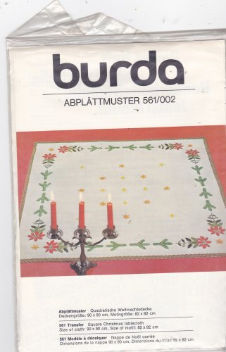 Burda 561/002 Iron On Embroidery Transfer Christmas Motif for Square Tablecloth