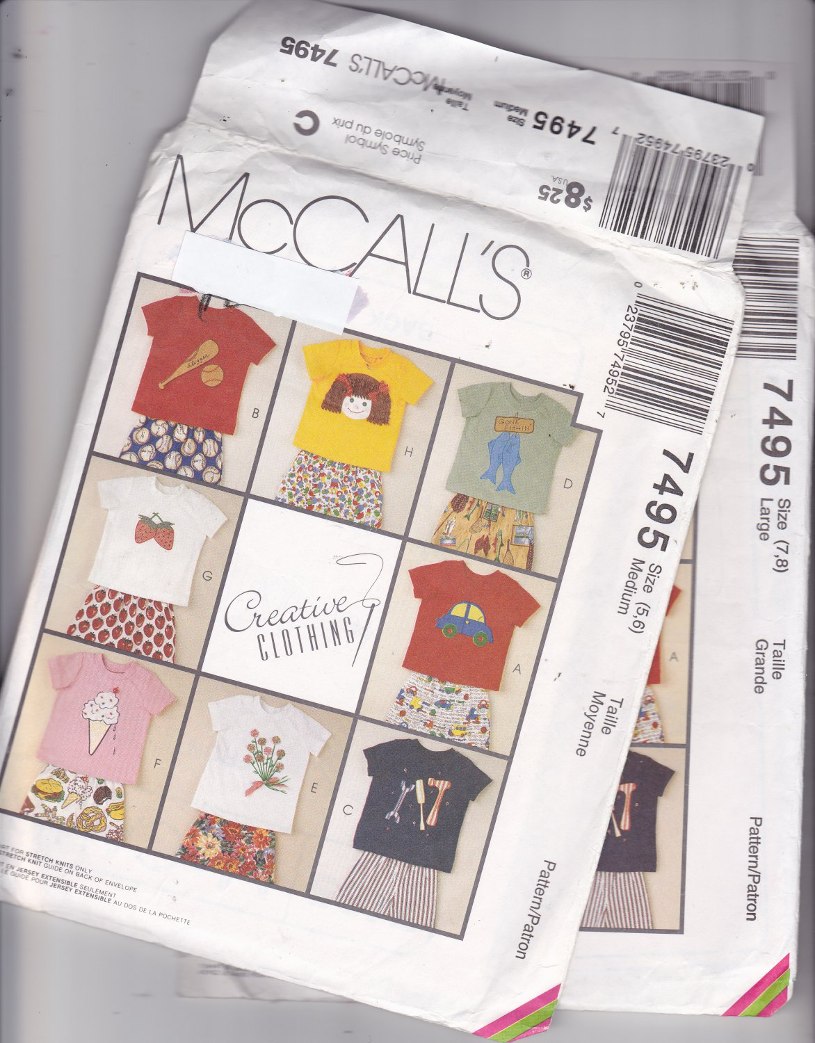 McCall's 7495 Pattern Uncut Medium 5 6 T-Shirts Pants Shorts Children Kids Boys Girls