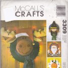 McCall's 3309 Pattern Halloween Thanksgiving Christmas Lighted Straw Hat Wreaths