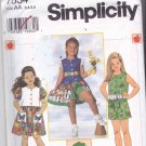 Simplicity 7534 Pattern Uncut size 3 4 5 6 Girls Button Front Dress Top Eyelet Ruffle Shorts