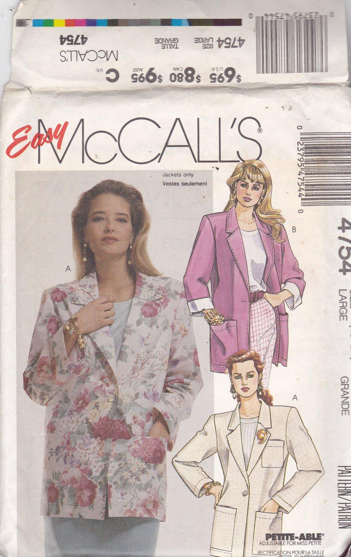 McCall's 4754 Pattern 18 20 Uncut Boxy Oversize Unlined Jacket Blazer Patch Pockets Rolled Cuff Plus