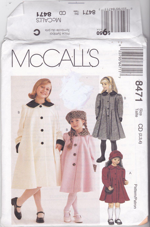 McCall's 8471 Pattern Uncut 2 3 4 Girl Children Kids Classic Lined Coat Hat Contrast Collar Cuffs