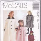 McCall's 8471 Pattern Uncut 2 3 4 Girl Children Kids Classic Lined Coat Hat Contrast Collar Cuffs