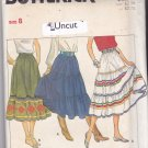 Butterick 4260 Pattern uncut 8 Boho Tiered Skirt Ruffle Flared Below Mid-Calf Midi Modest
