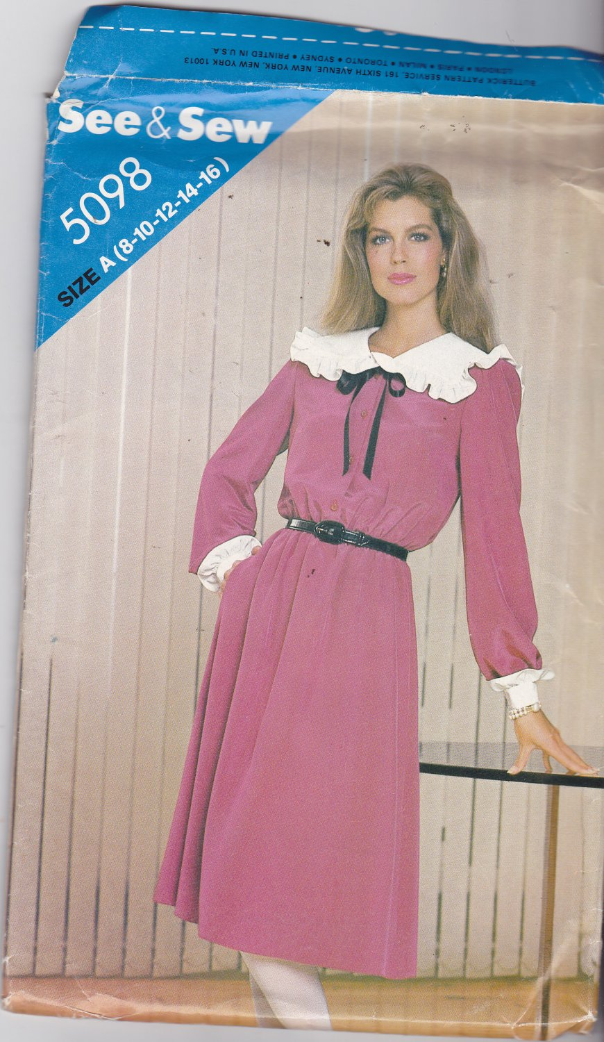 Butterick See & Sew 5098 Pattern Uncut 8 10 12 14 16 Horrible 1980s Dress Costume