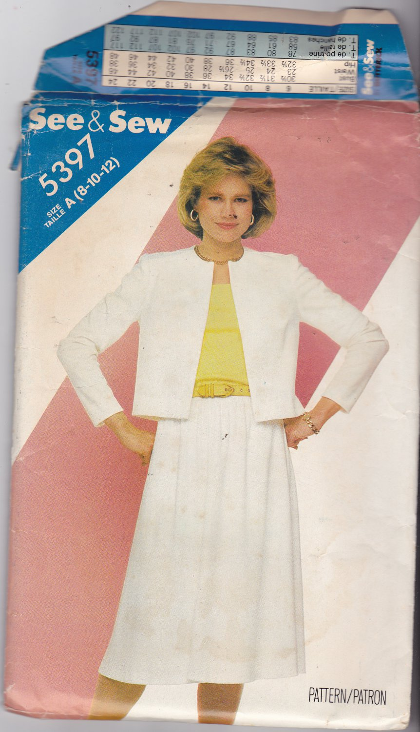 Butterick See & Sew 5397 Pattern Uncut 8 10 12 Loose Fit Jacket Skirt
