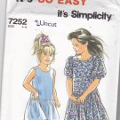 Simplicity 7252 Pattern Uncut size 4 5 6 7 8 Girls Dress Sleeveless or Short Sleeves