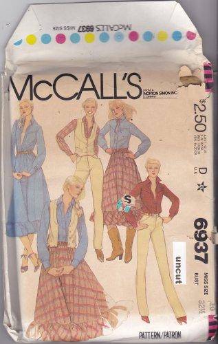 McCall's 6937 Pattern uncut 10 bust 32.5 Western Skirt with Ruffle Shirt Vest Pants with Yoke