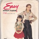 McCall's Stitch N Save 7750 Pattern 2 3 4 5 6 Girls Uncut Vest Shirt Pants Skirt Easy