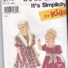 Simplicity 9170 Uncut 2 3 4 5 6 6x Toddlers Girls Dress Puffy Sleeves Gathered Skirt Contrast Collar