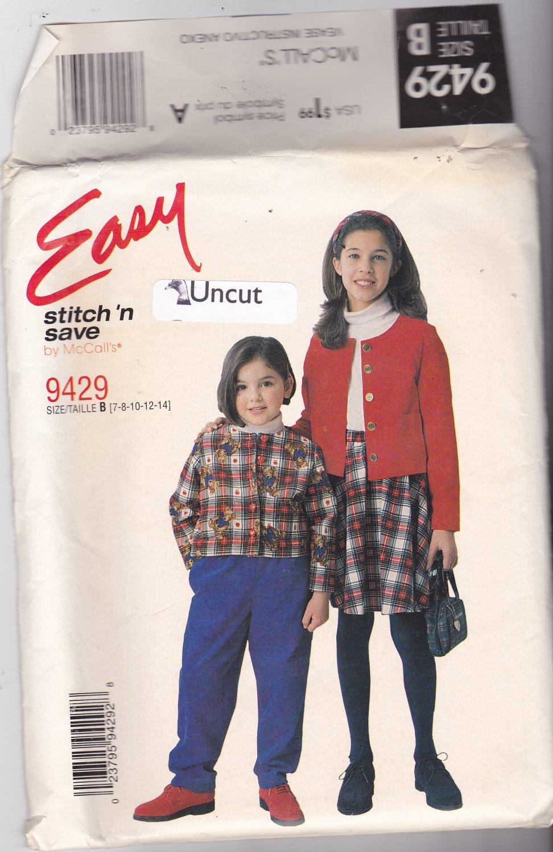 McCall's 9429 Uncut 7 8 10 12 14 Girls Jacket Pants Skirt Easy