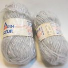 Lot of 2 Skeins Pingouin Douceur Ribbon Twist Yarn 100g total Light Gray 821