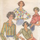 Vintage Butterick 4669 Button Front Blouse Top w/Collar Stretch Knits 18 Uncut