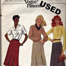 Vogue 7781 Pattern Size 12 Very Easy Unlined A-Line Pleated Skirt