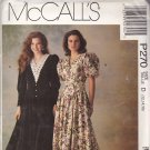 McCall's P270 Vintage Puffy Sleeves V Neck Dress pattern 12 14 16 uncut