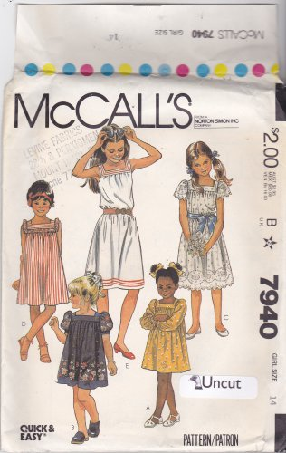 McCall's 7940 Uncut 14 Girls Teen Dress Yoke Puff Sleeve Square Neck